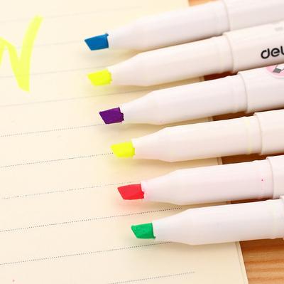 得力s602荧光笔重点标记笔 袖珍小巧记号笔学生标记圈划笔